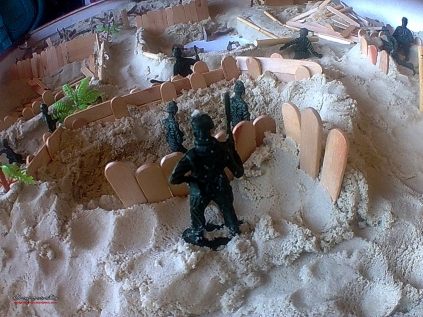 A diorama of how they do their battle strategies.